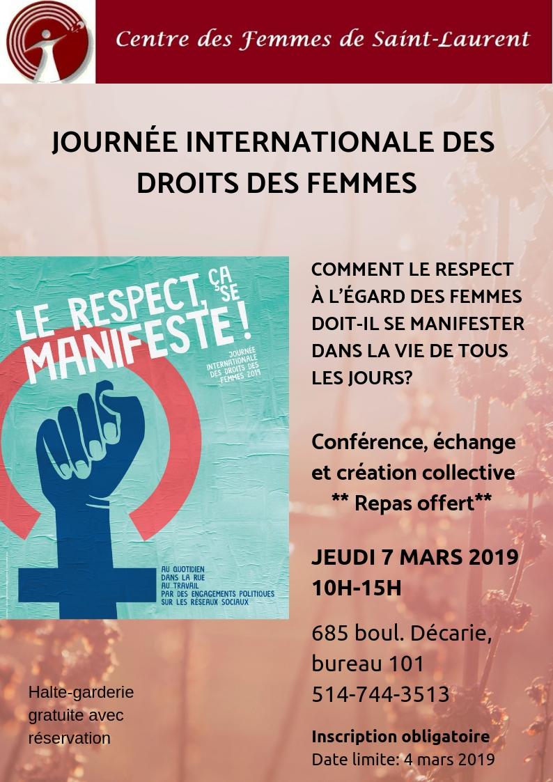 Journée internationale des droits des femmes 2019